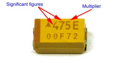 SMD tantalum capacitor with markings